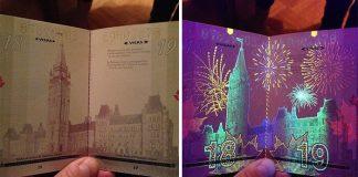 Passeport canadien, lumière noire ultraviolet avant/après