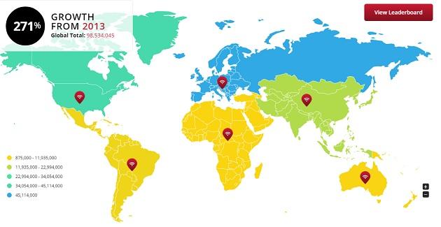 Carte interactive des hotspots Wi-Fi dans le monde