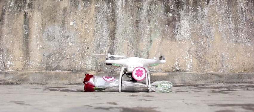 Drone, fleurs, Saint-Valentin, Hong Kong