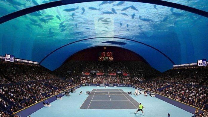 Concept Dubai, court de tennis sous l'eau