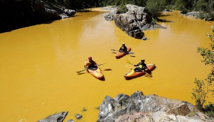 Colorado, rivière, contaminée, jaune, toxique