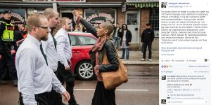 Tess Asplund, poing levé, néo-nazis, Suède