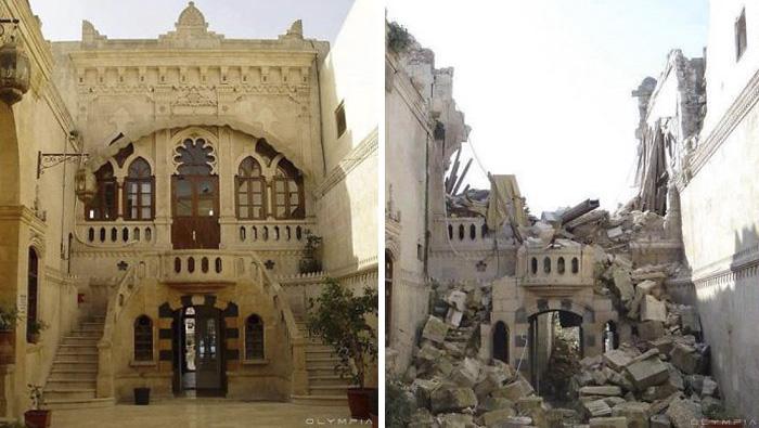 Alep, Syrie, photo avant/après la guerre
