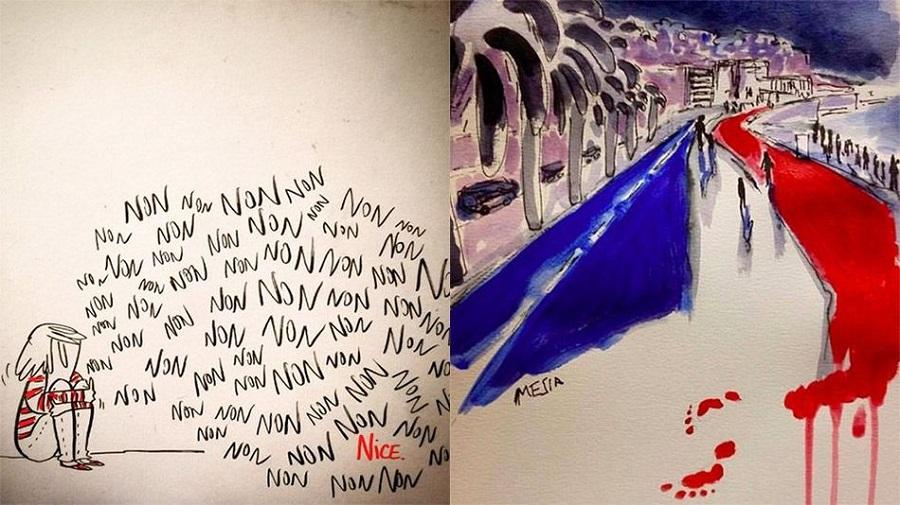 Dessins hommage attentat de Nice
