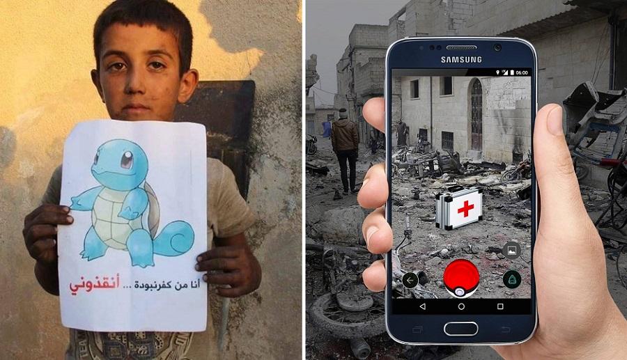 Enfants Syrie, Pokémon GO