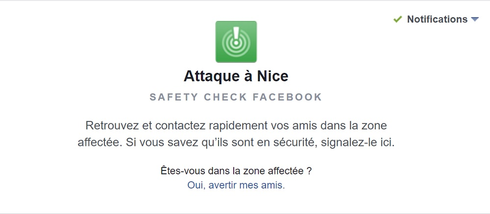 Safety Check, Facebook, attentat de Nice
