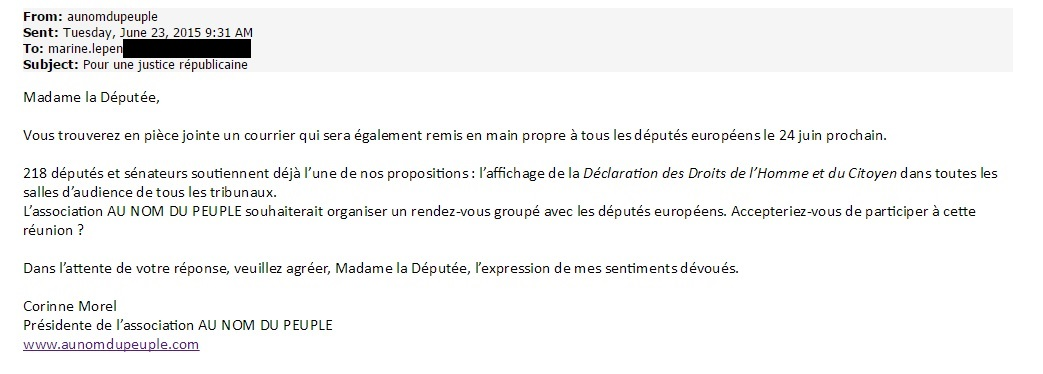 Mail Au nom du peuple, Marine Le Pen