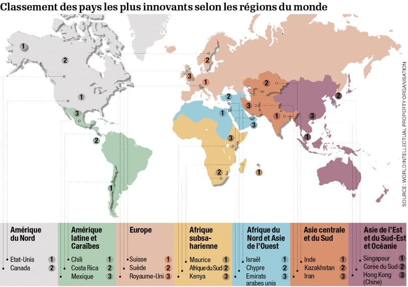 Carte des pays les plus innovants au monde