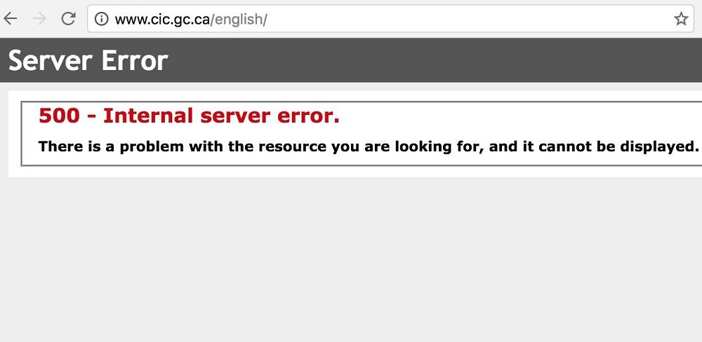 Site immigration du Canada, erreur